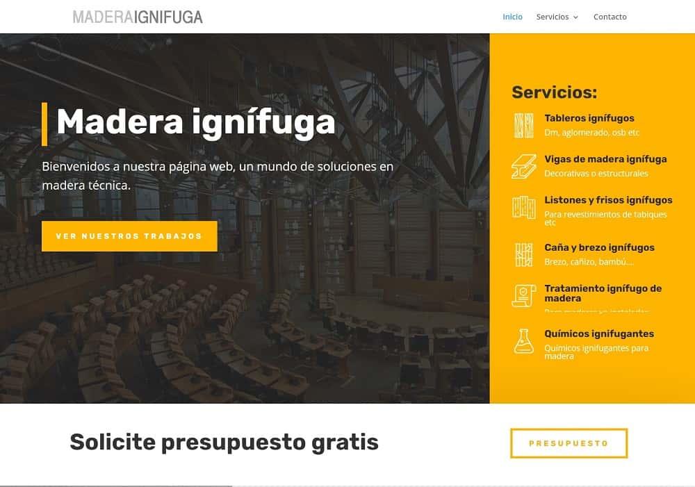 Diseño web Madera ignifuga captura