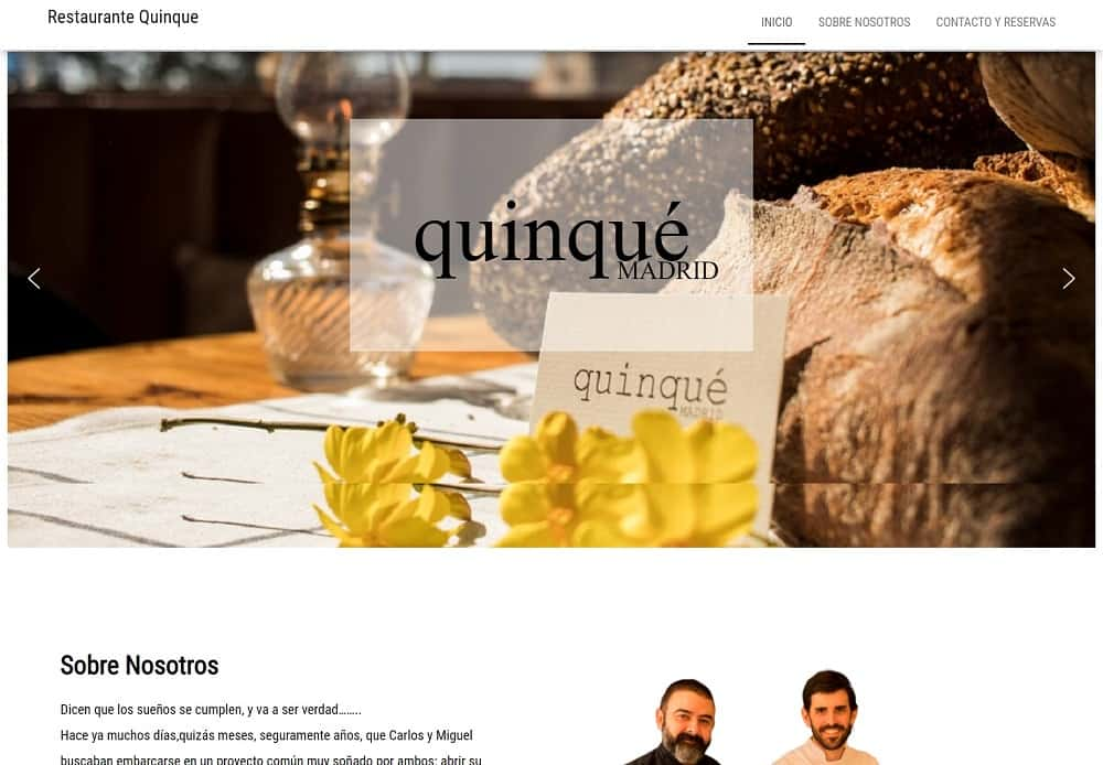 Diseño web Restaurante Quinque Captura